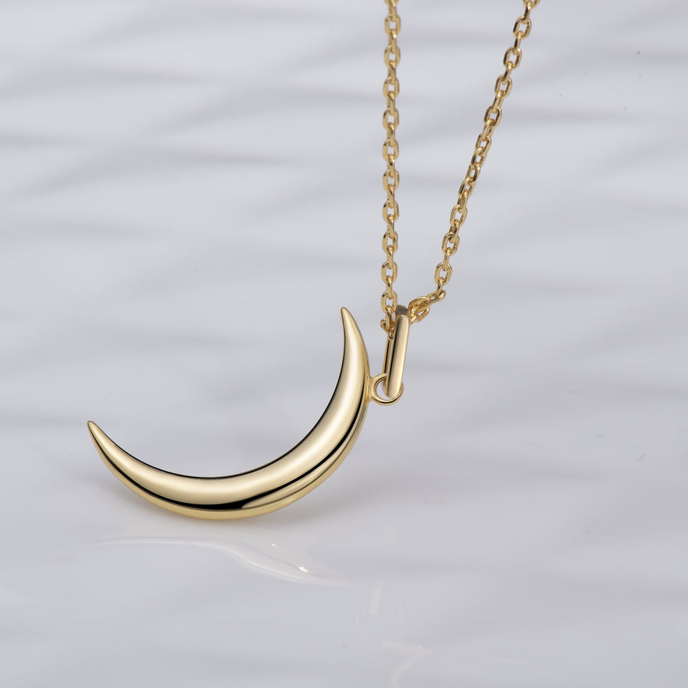 sterling silver gold high shine Crescent Moon Necklace