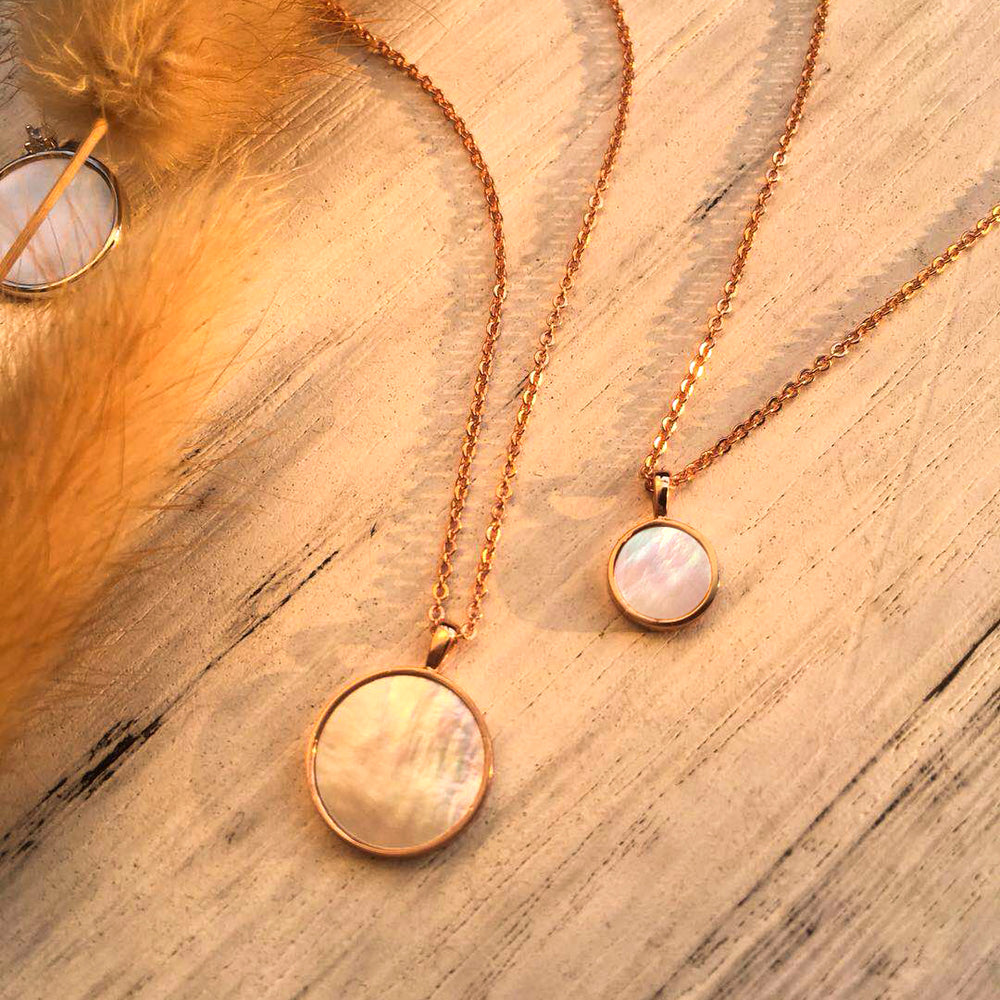 tiny Mother of Pearl Round Pendant Necklace gift for her