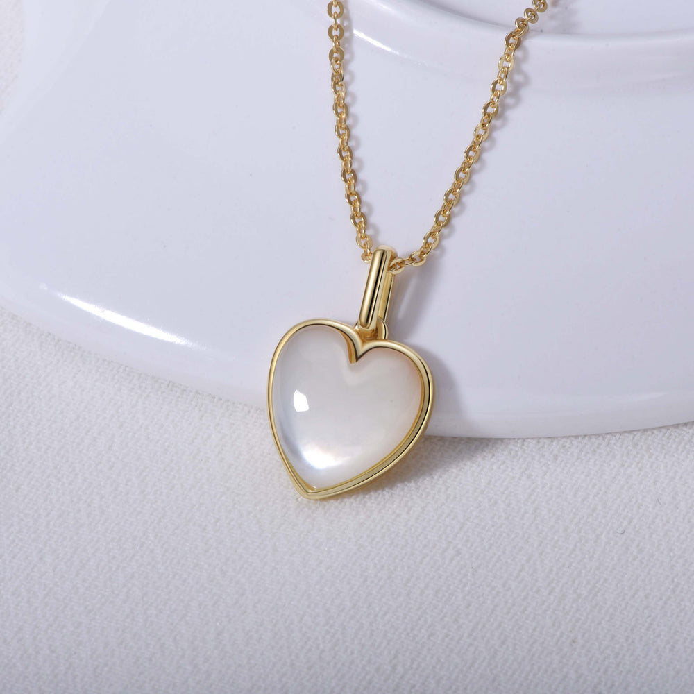 Mother of Pearl Heart Necklace sterling silver gold