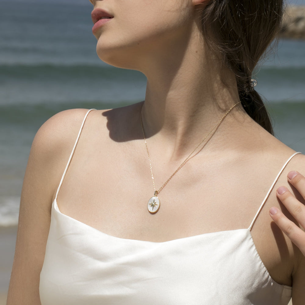 dainty Moter of Pearl Star Signet Coin Necklace for women
