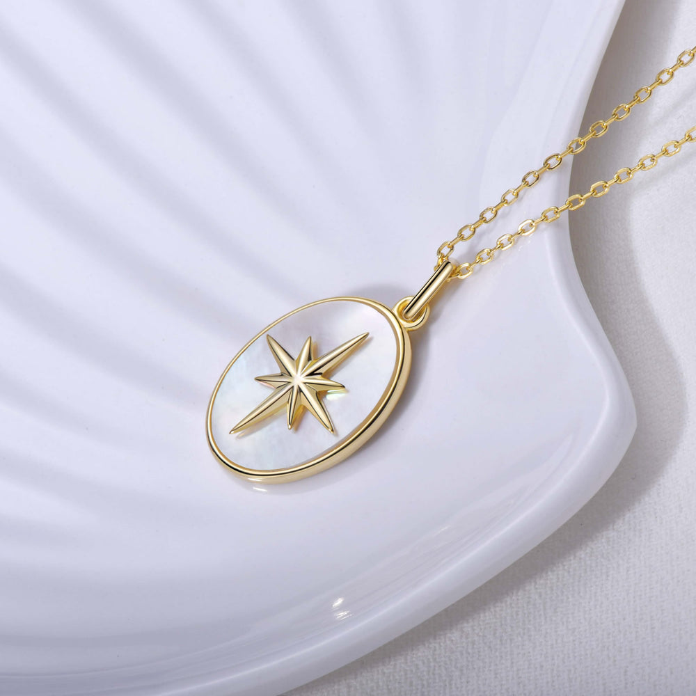 sterling silver Moter of Pearl Star Signet Coin pendant Necklace
