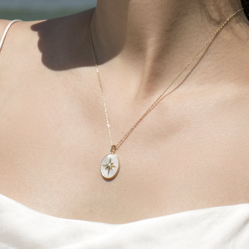 shell Star Signet Coin Necklace sterling silver gold plated