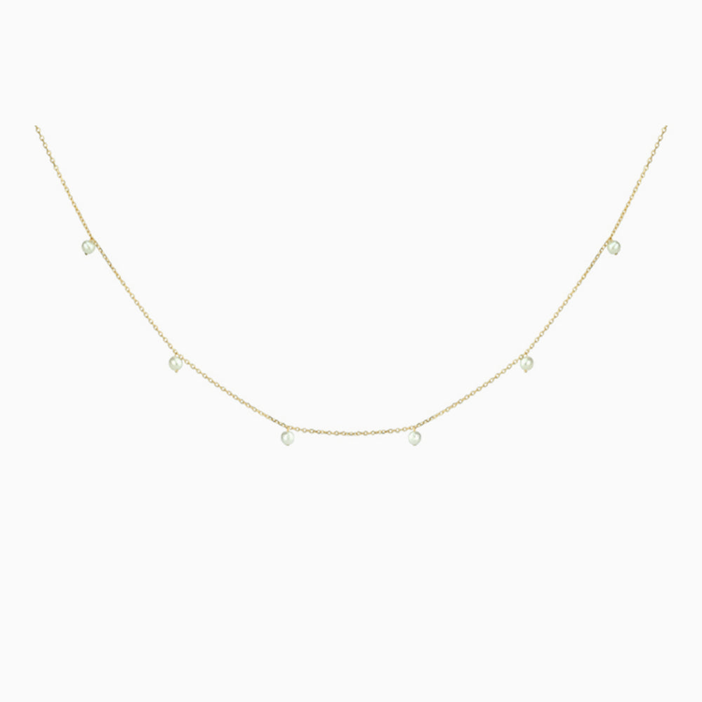 thin chain pearl choker gold