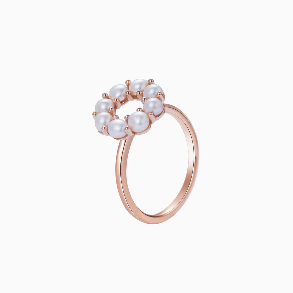 Open Circle Pearl Ring