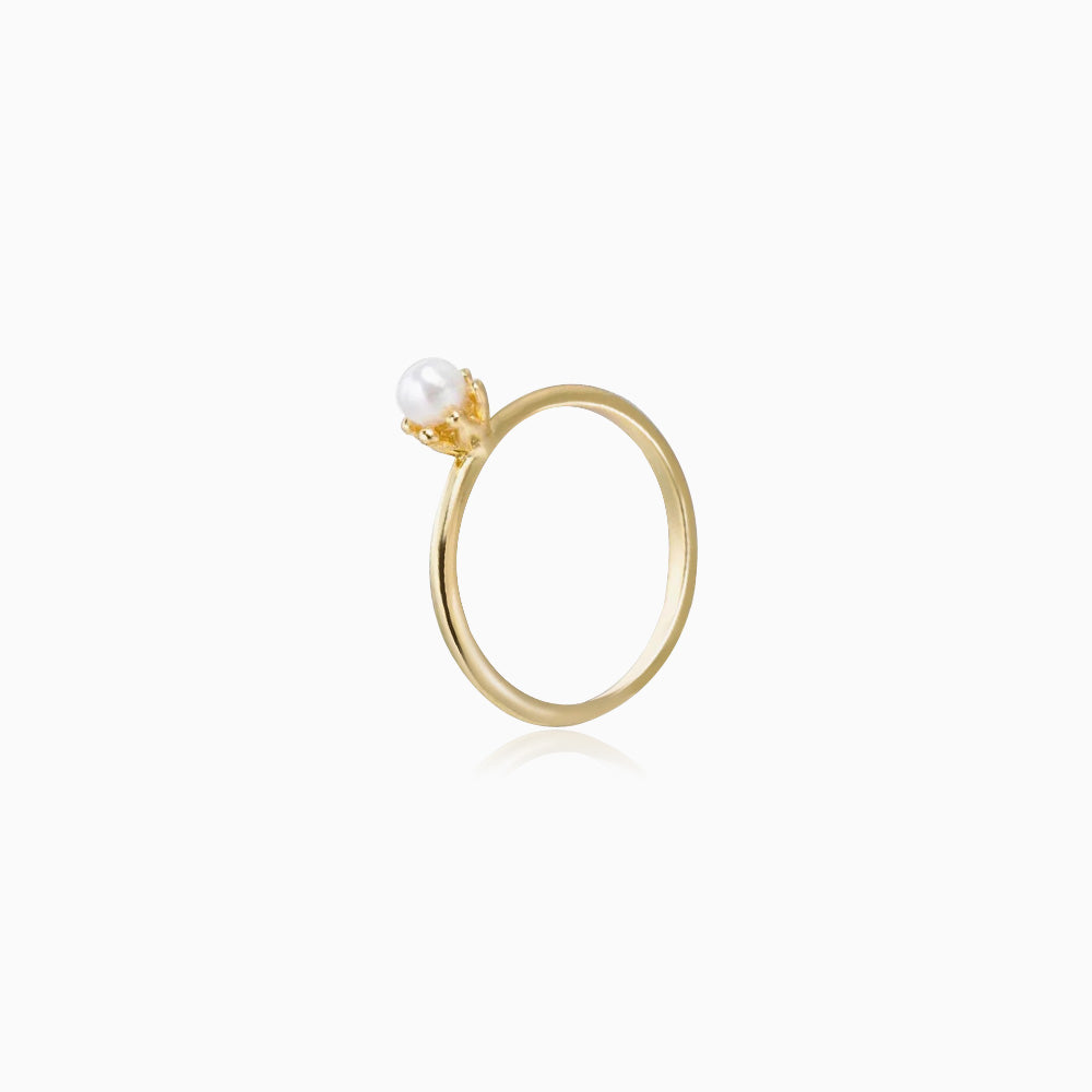 single pearl ring gold plated