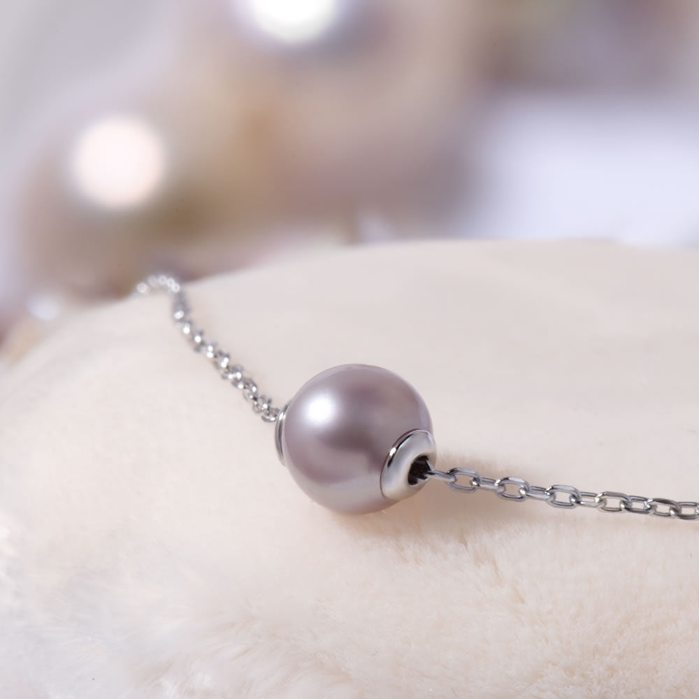 sterling silver purple pearl pendant necklace