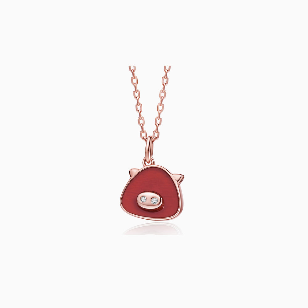 red piggy necklace rose gold