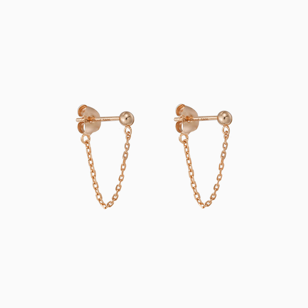 Ball with Chain Dangle Earrings rose gold