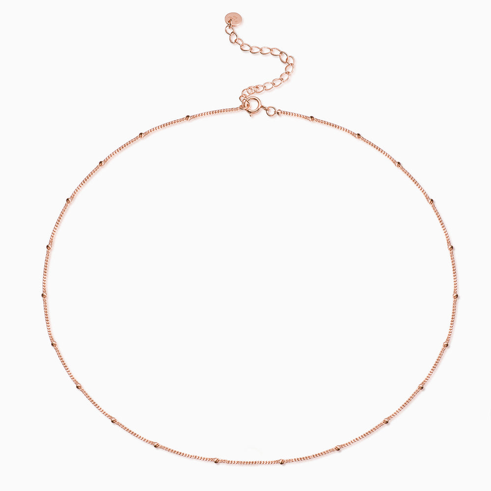 simple Satellite Chain Choker Necklace rose gold