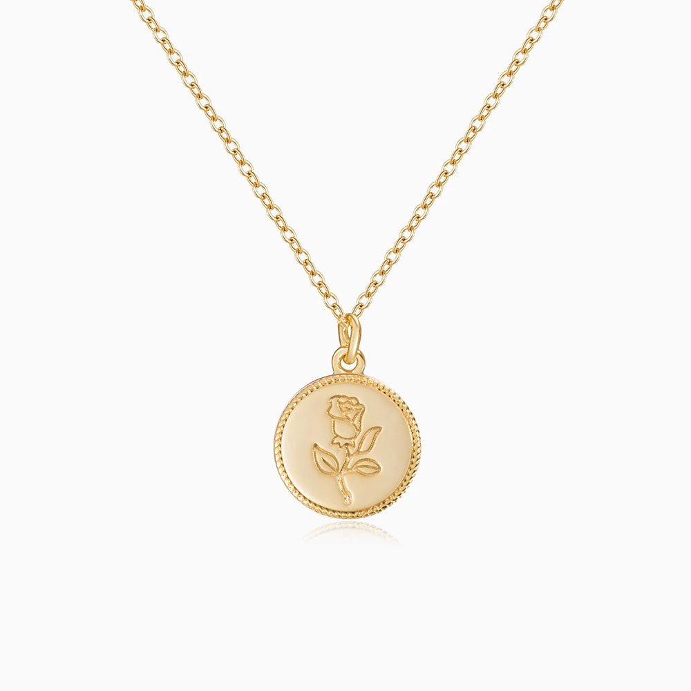 Rose Gemini Zodiac Coin Necklace gold