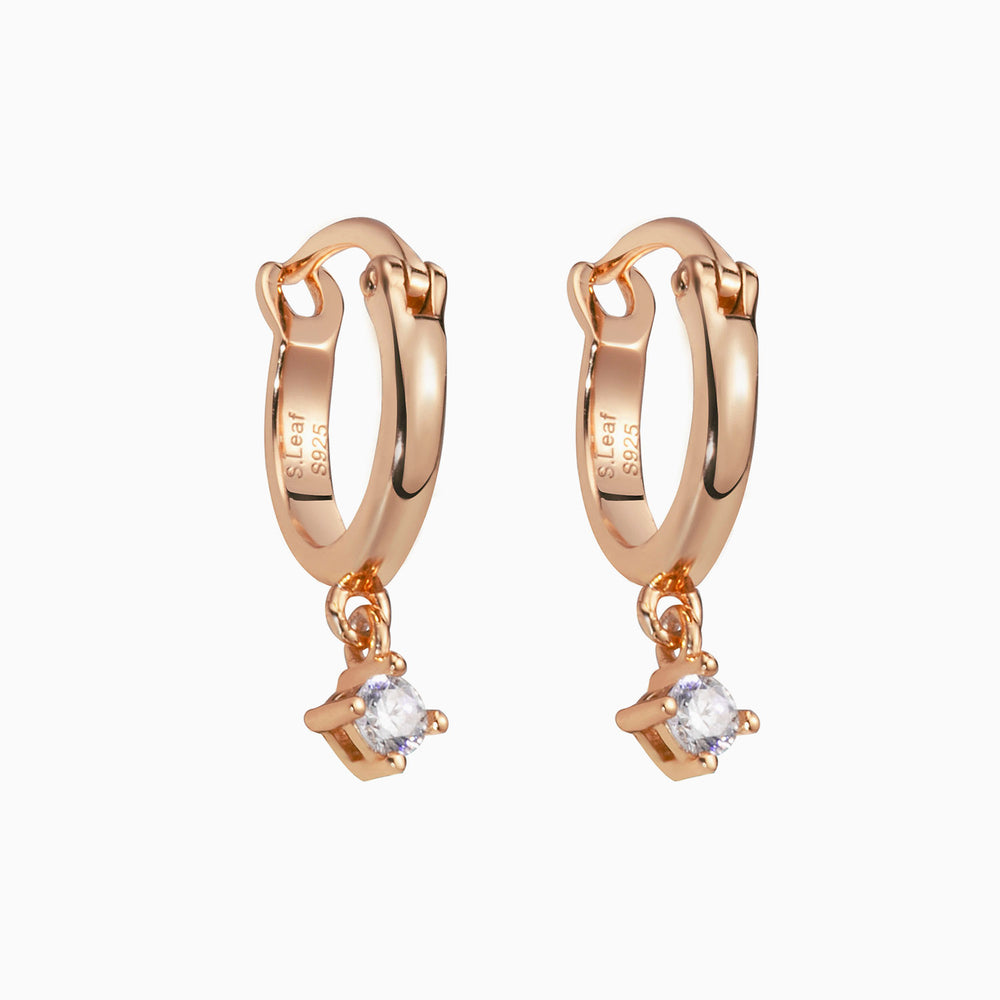 Rose gold small hoops dangle earrings