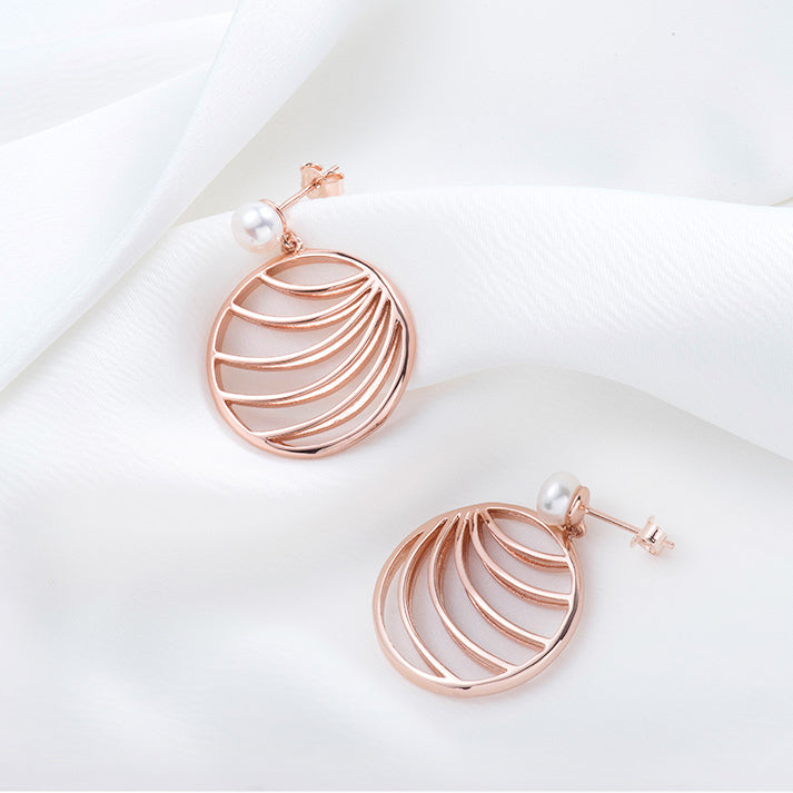 palm leaf earrings rose gold