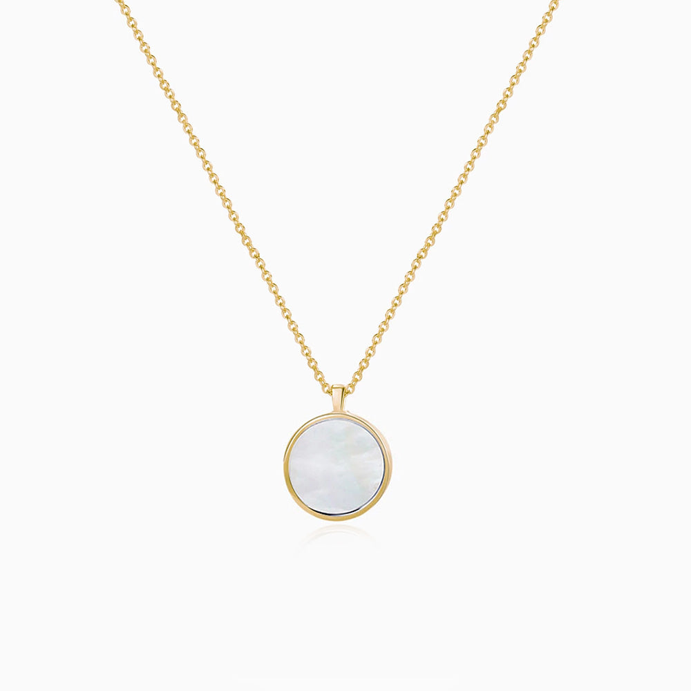 Large Mother of Pearl Round Pendant Necklace gold