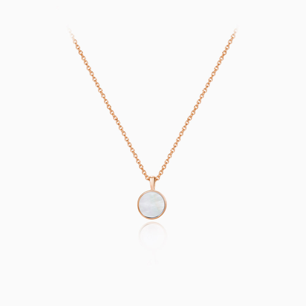 Small Mother of Pearl Round Pendant Necklace rose gold