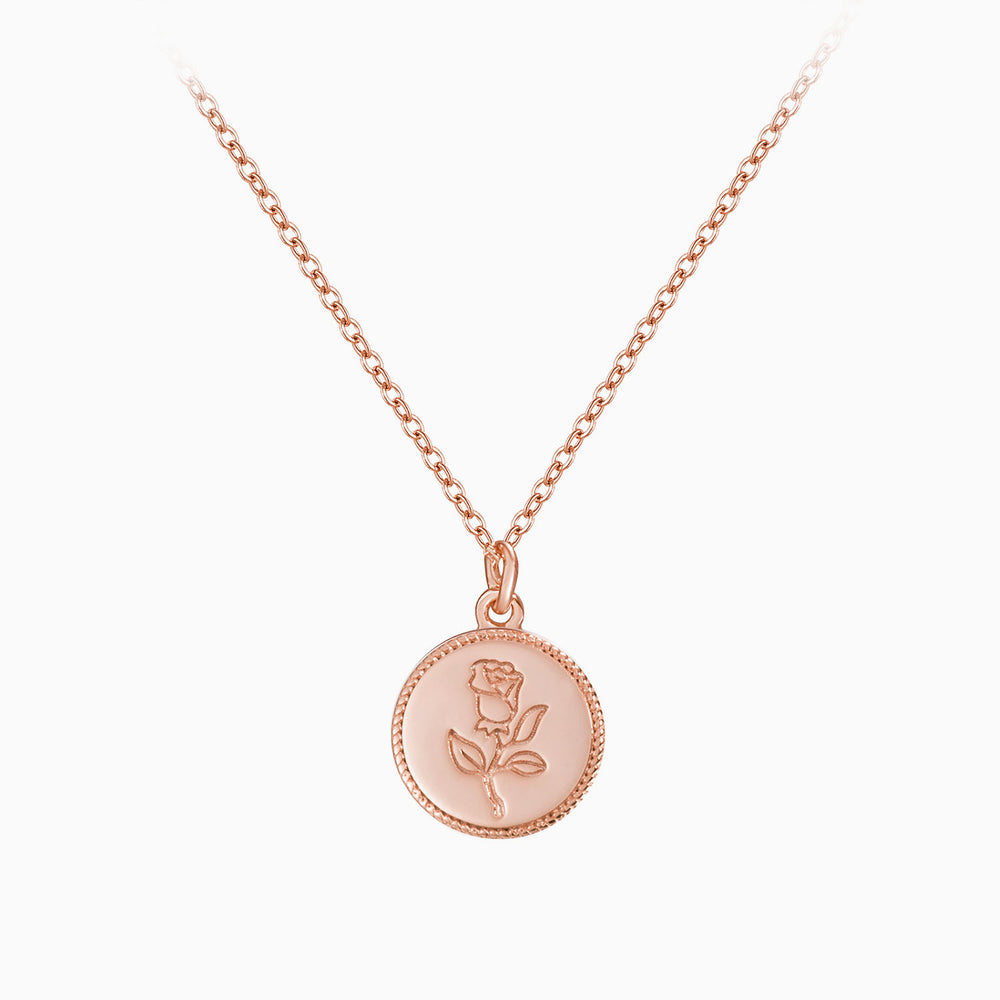 Rose Gemini Zodiac front back Coin Necklace rose gold