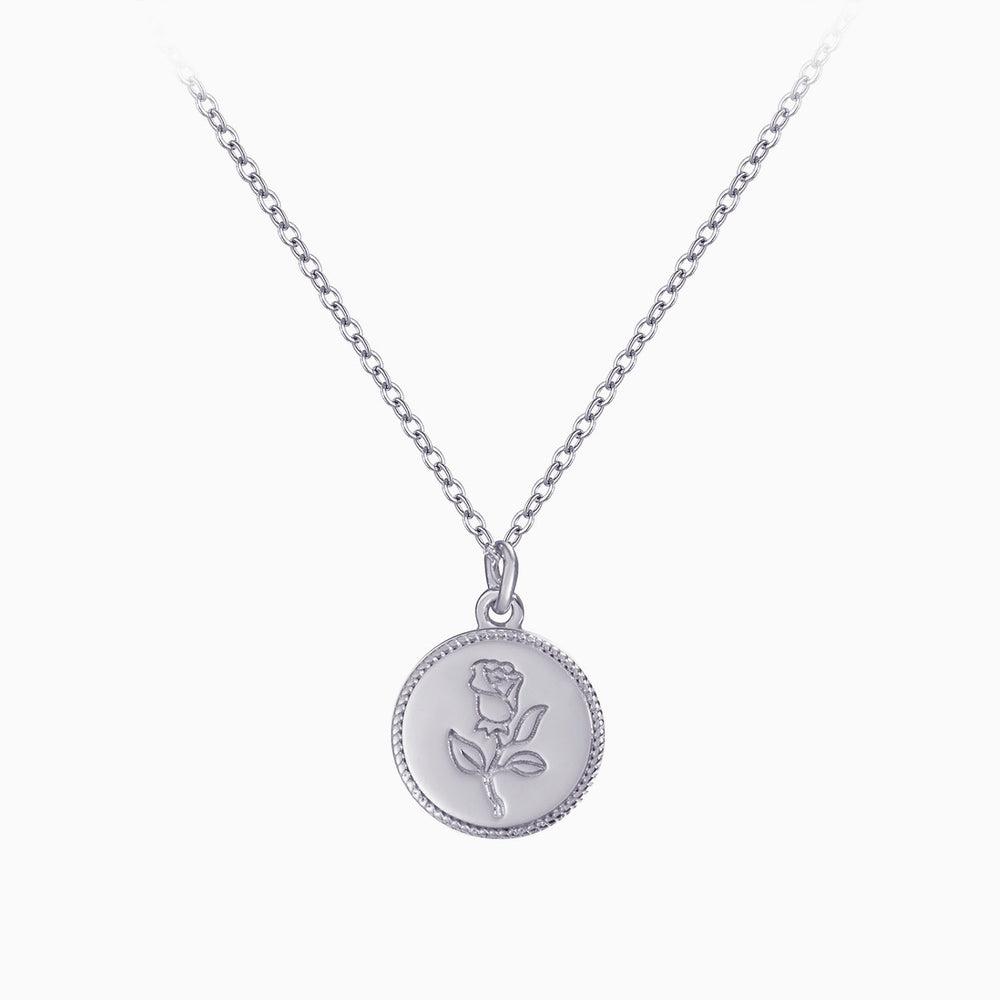 Rose Gemini Zodiac front back Coin Necklace sterling silver