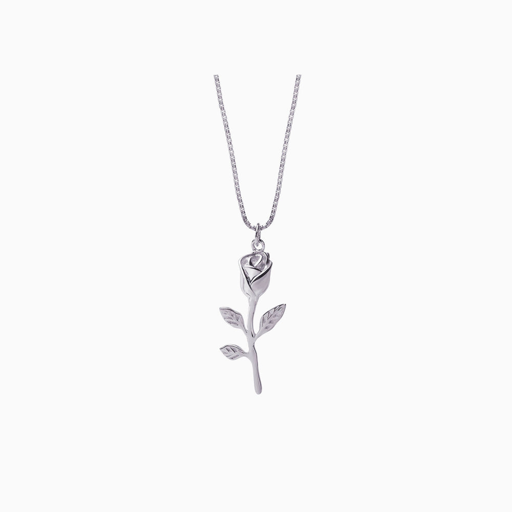 Rose flower Necklace sterling silver