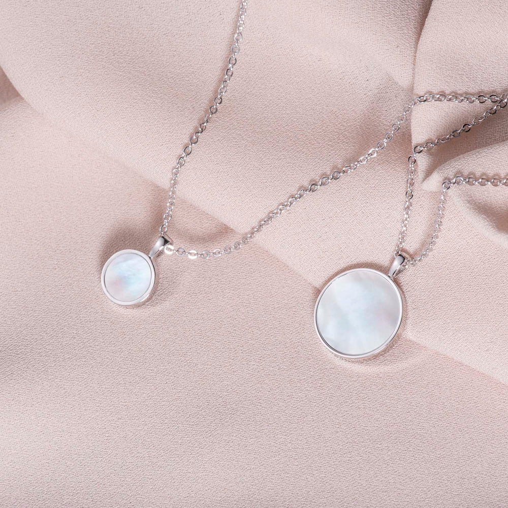 Small Mother of Pearl Round Pendant Necklace gift ideas