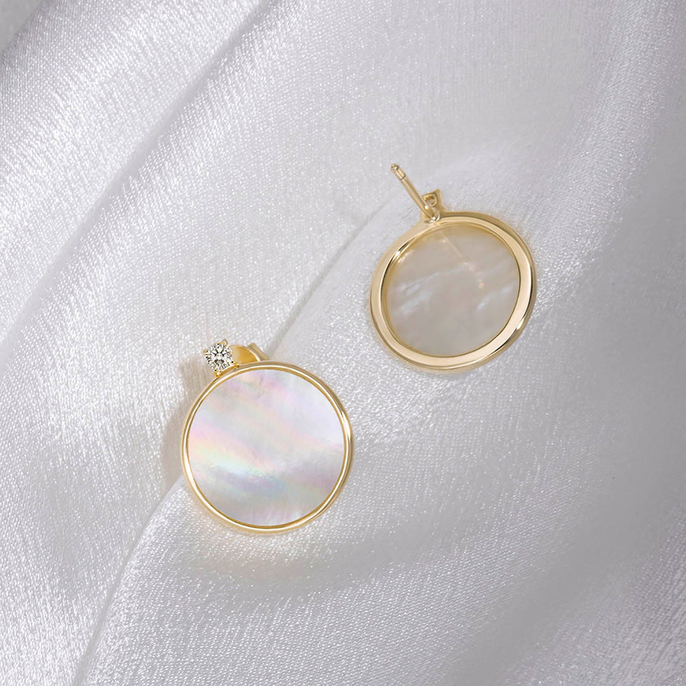 Round Mother of Pearl with CZ Stud Earrings