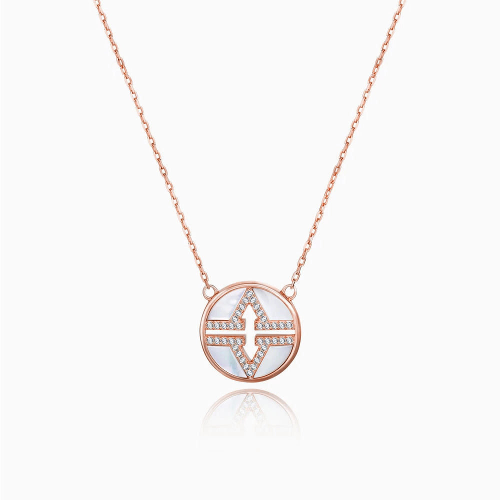 Double V Karma Circle Front Back Necklace rose gold