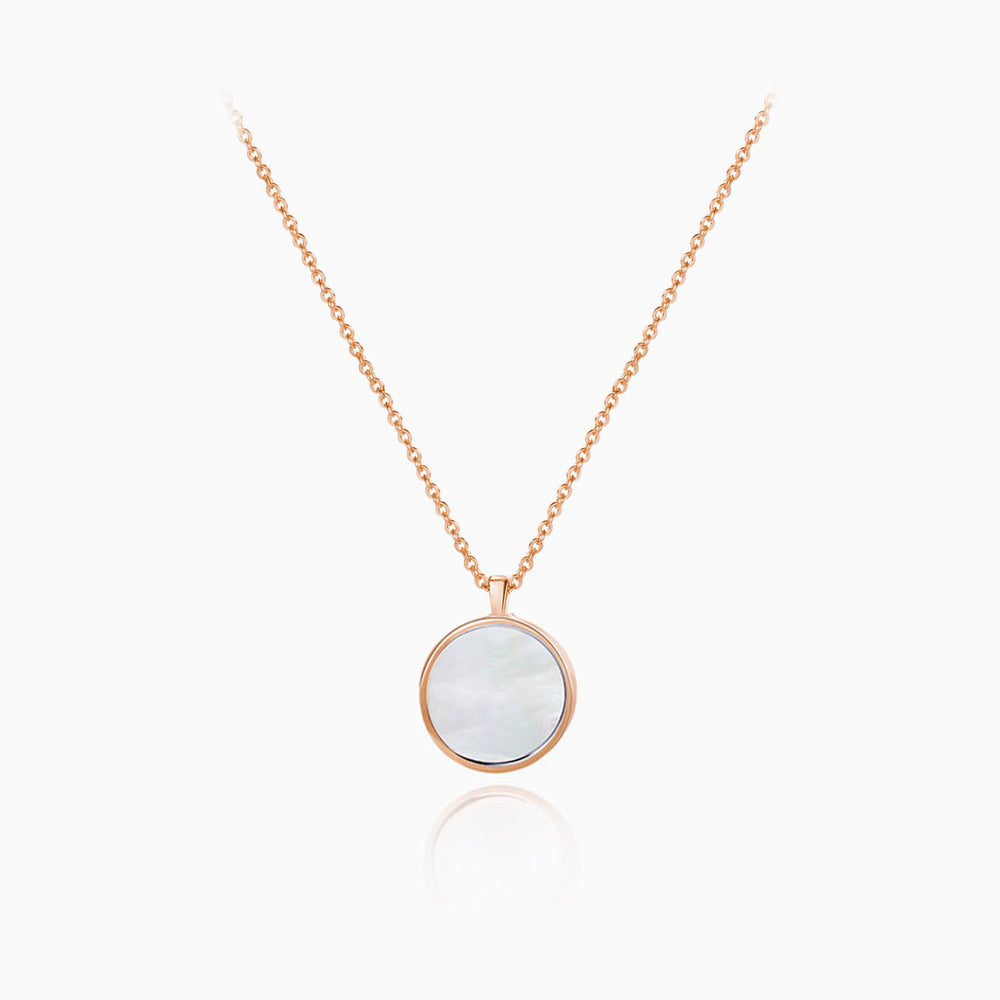 Large Mother of Pearl Round Pendant Necklace sterling silver rose gold