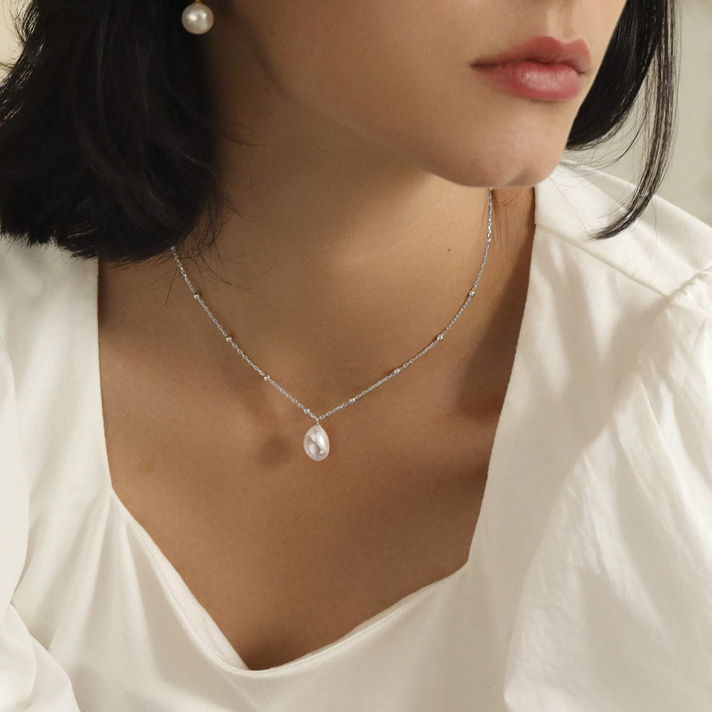 Satellite Chain Choker Baroque pearl necklace 925 sterling silver