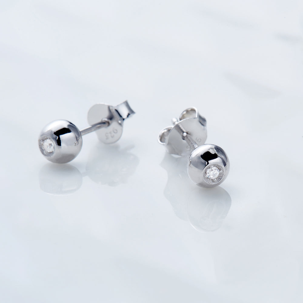 cubic zirconia Ball Stud Earrings sterling silver