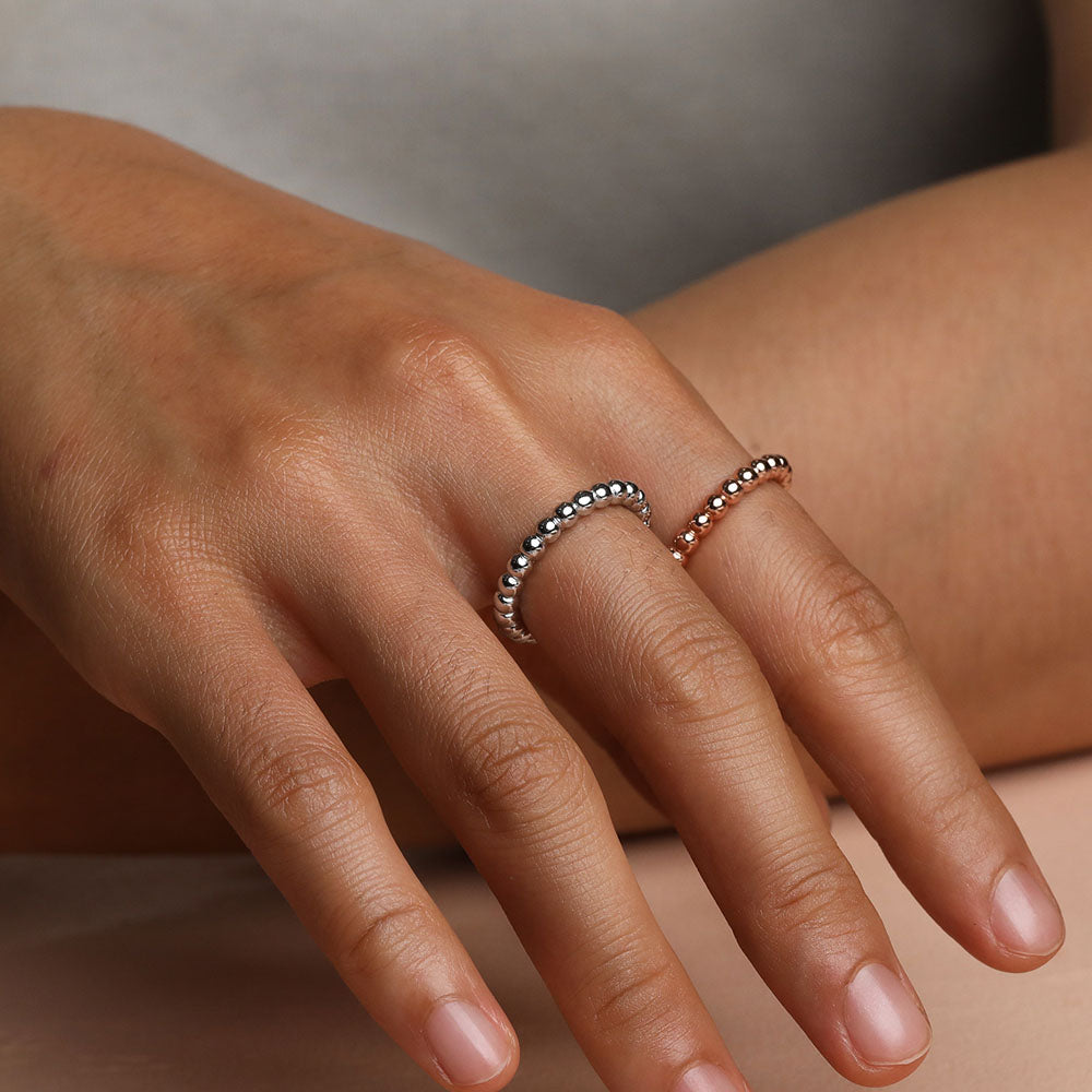 thin beaded ring wedding band promise ring