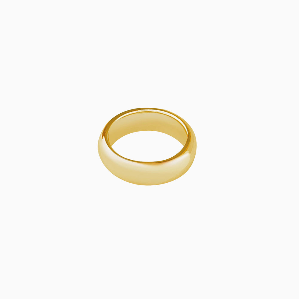 simple round dome wedding band ring gold