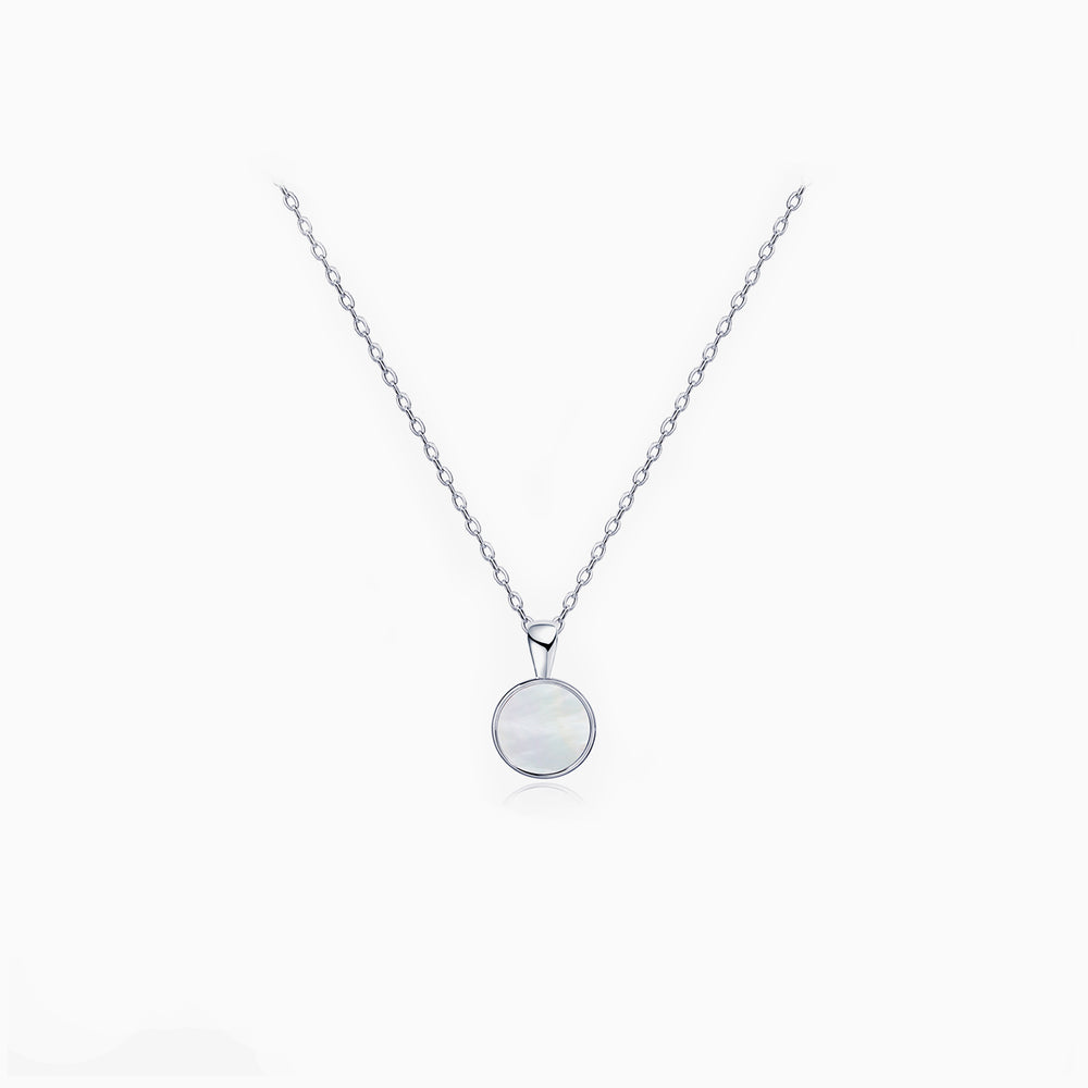 Small Mother of Pearl Round Pendant Necklace sterling silver