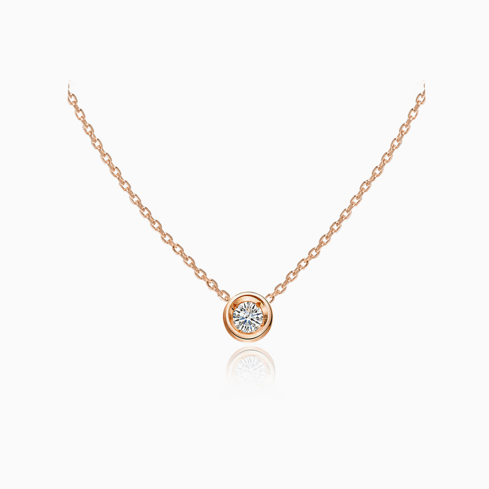 simple Solitaire Necklace rose gold plated