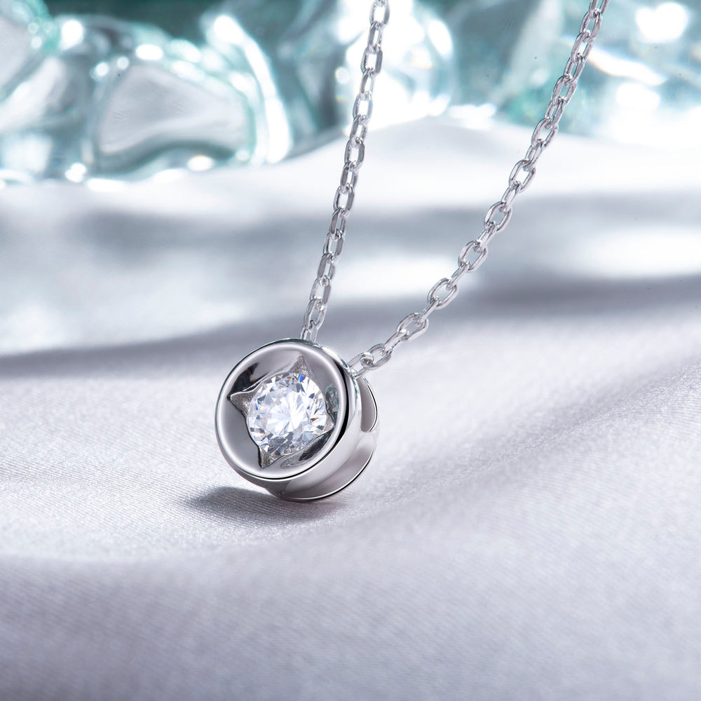 Cubic Zirconia Solitaire Necklace sterling silver