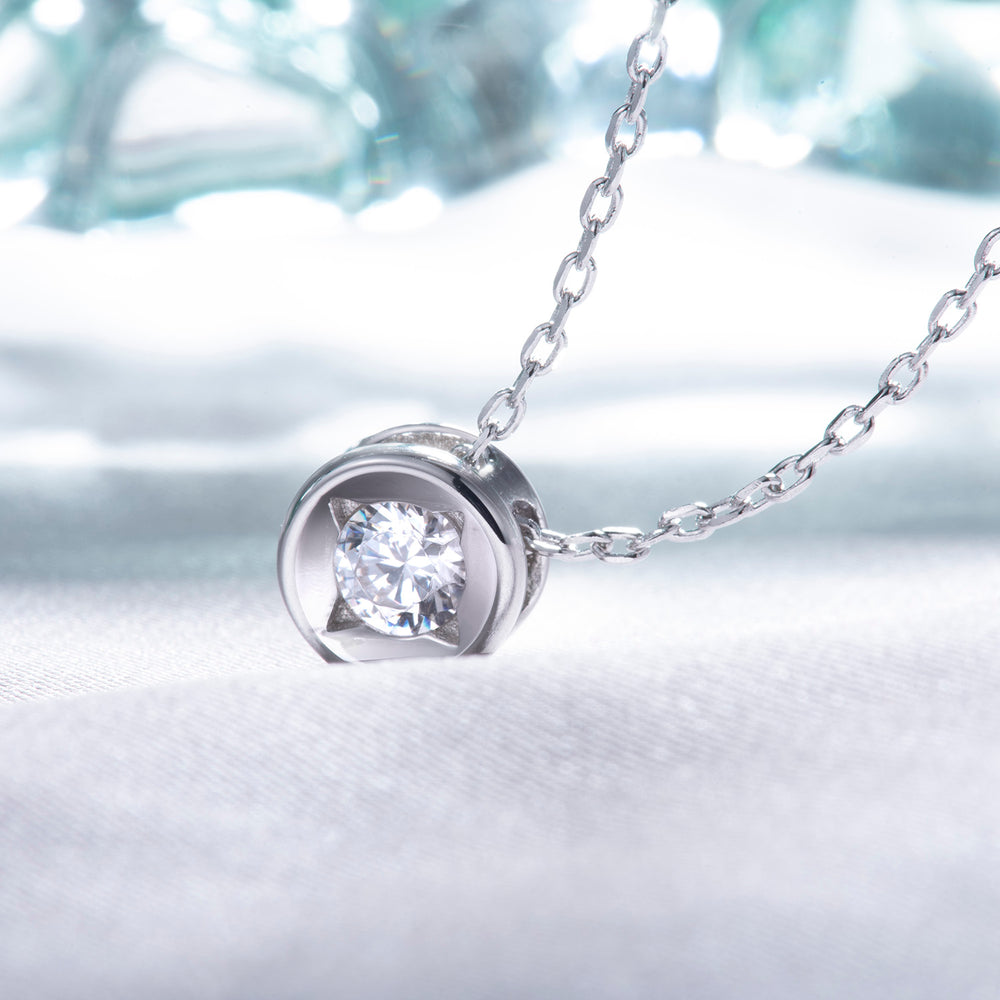 dainty CZ Solitaire Necklace