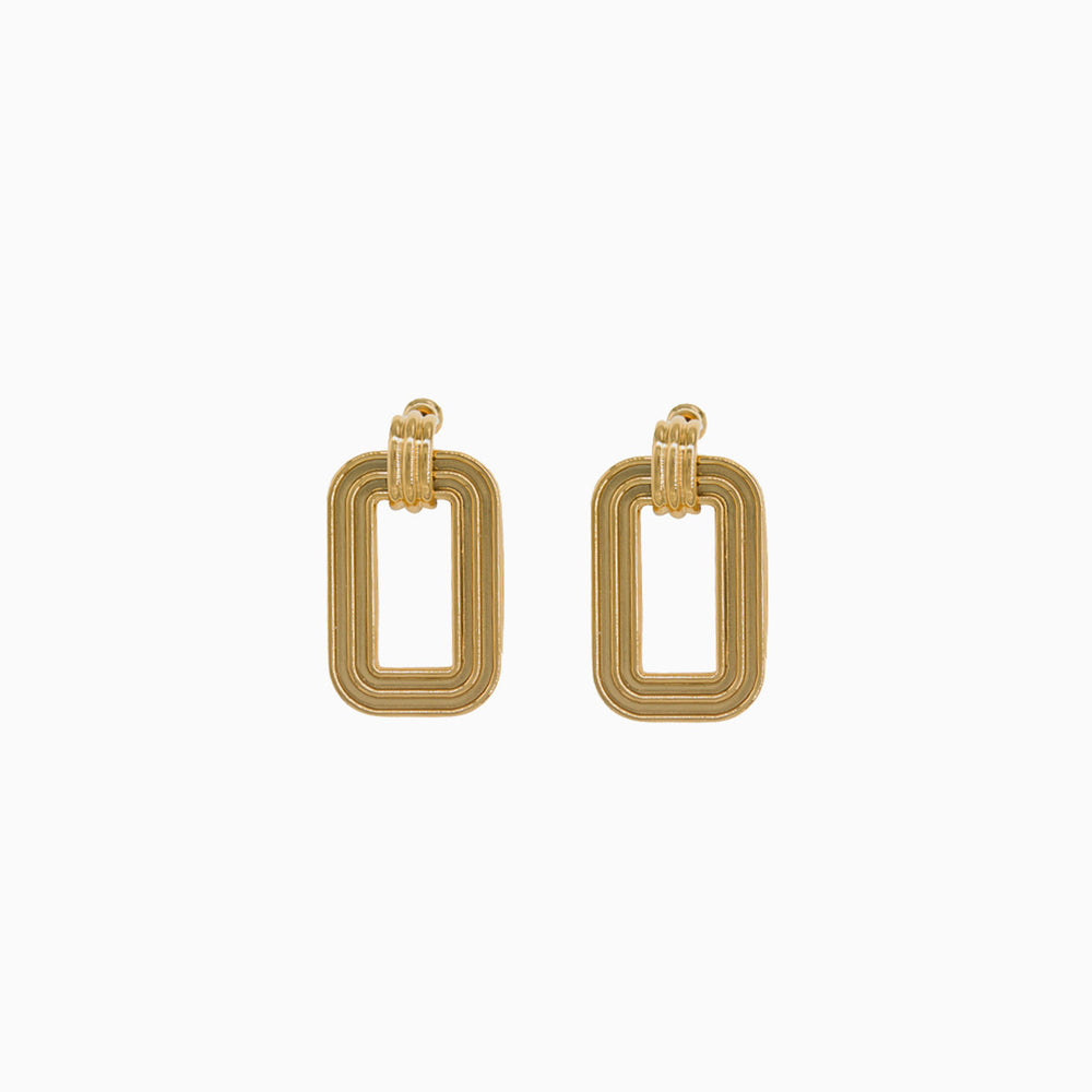 Retro Geometric Square Earrings