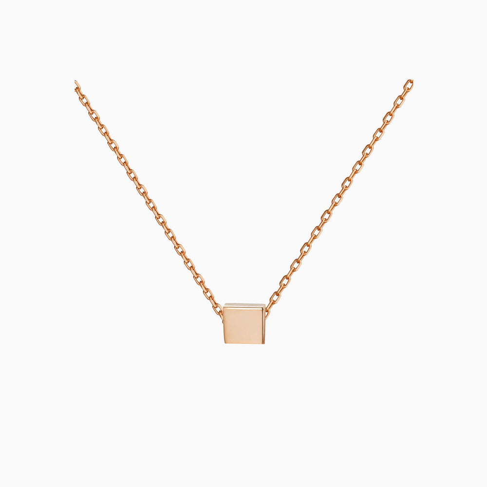 simple Square Necklace rose gold