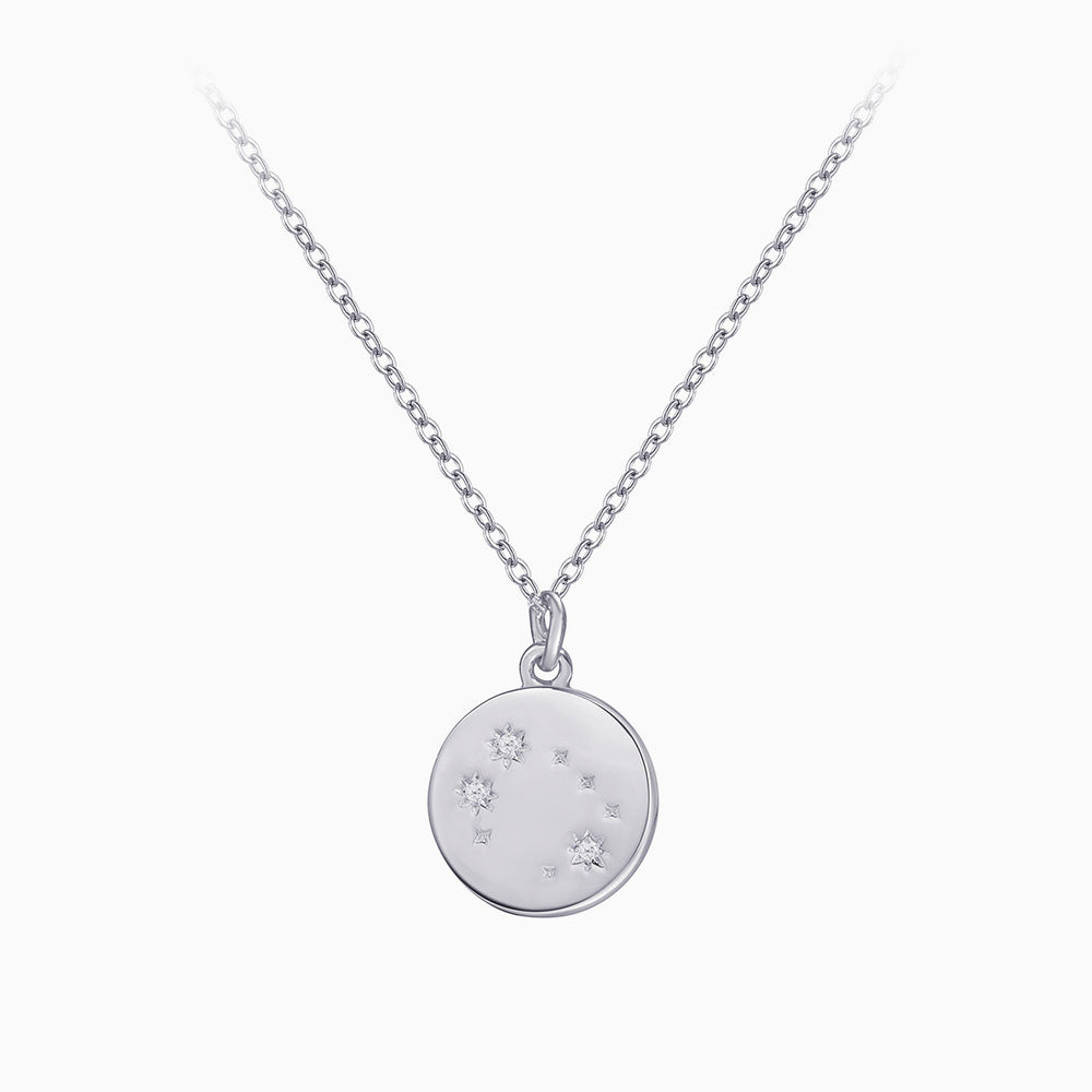 sterling silver Rose Gemini Zodiac Coin Necklace gift for her