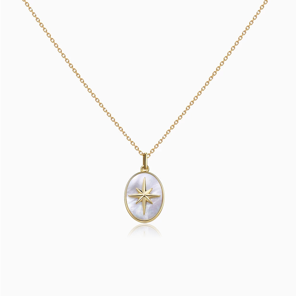 Moter of Pearl Star Signet Coin Necklace gold