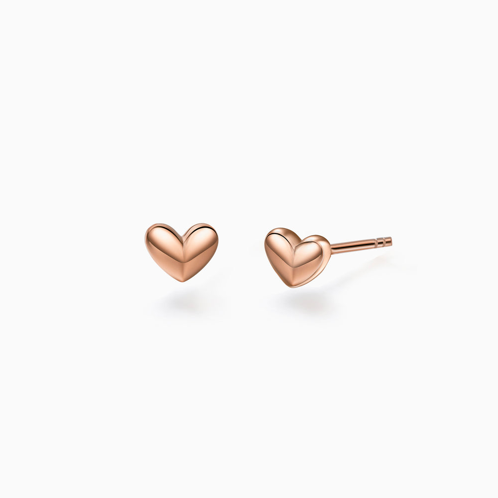 heart studs dainty earrings rose gold