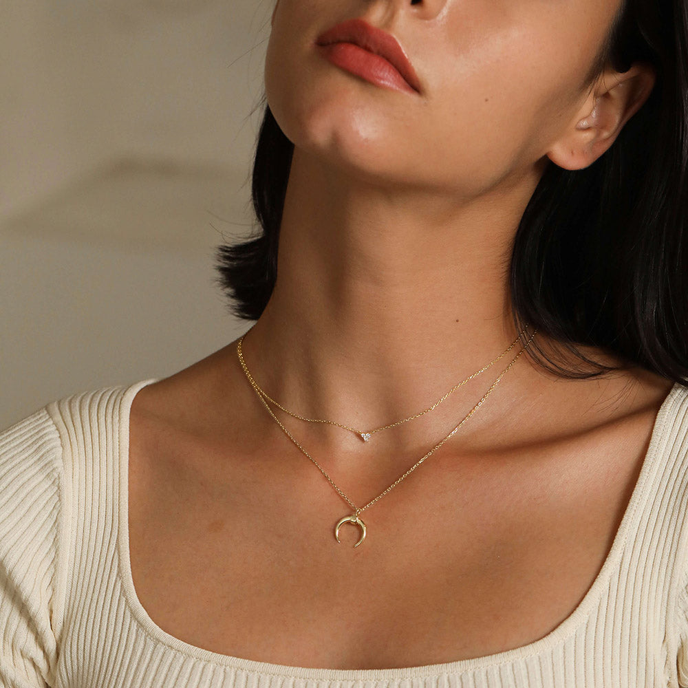 Horn and tiny triangle CZ Layering necklace for women