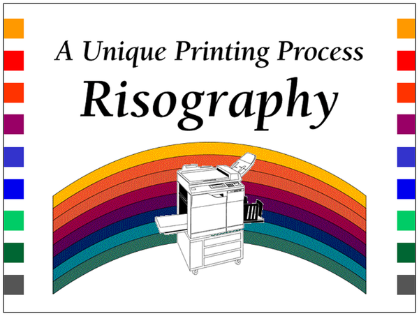 "Slide from a Risograph presentation from 1997. It shows a drawing of a Risograph GR3770 machine over a bitmap rainbow, with the text ""A Unique Printing Process: Risography"""