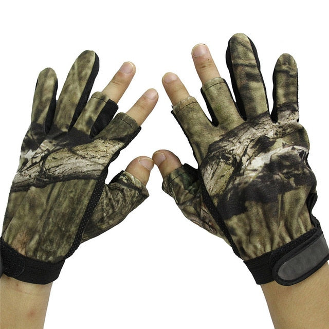 Hunting Gloves Anti-Slip 3 Fingers & 5 cut Fingers Outdoor Camping Cycling Half Finger Gloves Lightweight Skidproof Nonslip