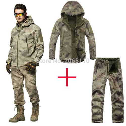 Tactical Men TAD Gear Soft Shell Outdoor Camouflage Jacket Set  Army Sports Waterproof Hunting Clothes Set Military Jacket+Pants