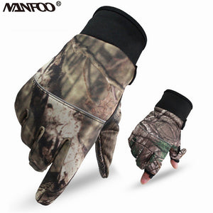 Autumn Winter Outdoor Bionic Camouflage Full Gloves Hunting Leaf Camouflage Gloves Mitten Two Fingers Anti-slip Riding Gloves
