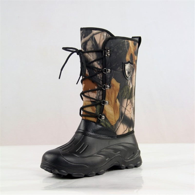 New Outdoor Camo Hunting Boots Camouflage Front Lacing Waterproof Snow Boots Fishing Shoes Size 41-46