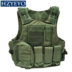 HZYEYO Camouflage Hunting Coat CS Hunting Military Tactical Vest Wargame Body Molle Armor Outdoor Equipment 5 Colors