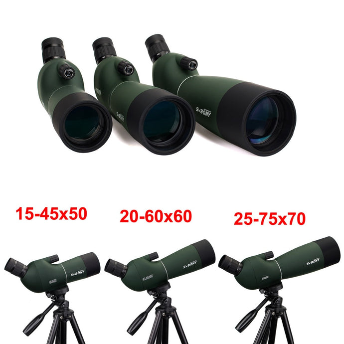 SVBONY SV28 50/60/70mm Spotting Scope Zoom Telescope Hunting Angled Waterproof +Tripod Soft Case Monocular F9308Z