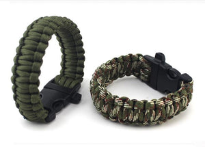 Tactical Bushcraft molle Umbrella rope survive whistle escape emergency rescue Camouflage bracelet paracord climb hunt accessory