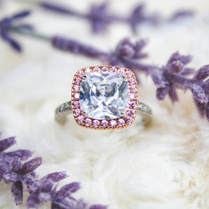 2.75 Carat Center Stone Cushion Cut With Rose Gold Halo and Pink Simulated Diamonds 14k Rose Gold and Platinum Plated
