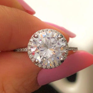 3 Carat Round Cut Halo Engagement Ring (Gold & Silver)
