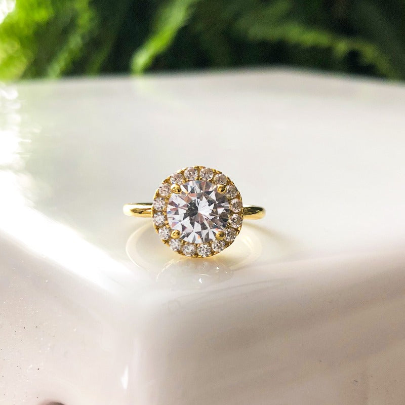 2 Carat Round Cut Halo Engagement Ring (Gold & Silver)